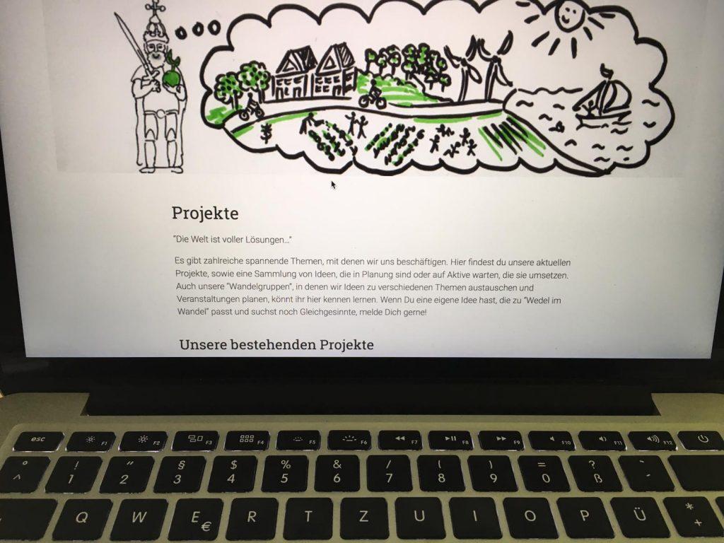 Laptop mit offener Wedel im Wandel-Seite